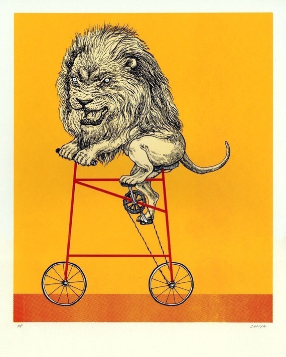 LEO lion Screenprint, FREE SHIPPING, 3-for-2 Moving Sale