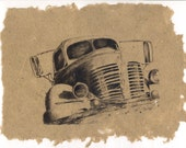 Derelict 1B -Old Abandoned Vehicle Series on Handmade Paper