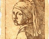 Tribute to Vermeer - Etching On Recycled Handmade Paper