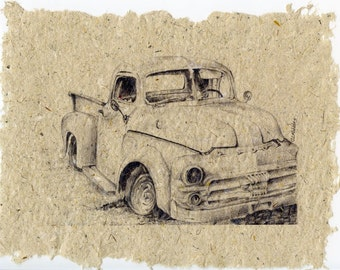 Derelict 5A Old Abandoned Vehicle Series on Handmade Paper