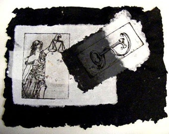 Justice is Key -Etching on Recycled Handmade Paper