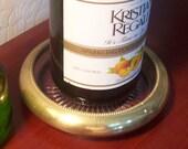Vintage Glass and Brass Bottle Coaster