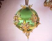 SALE Vintage Handmade Beaded Christmas Ornament