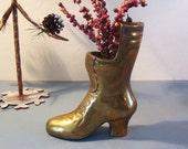 Vintage Brass Boot Ladies Victorian Style