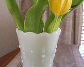 Vintage Milk Glass Diamonds and Dots Vase