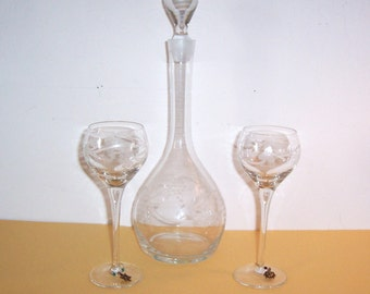 Vintage Etched Glass Wine Decanter and Wine Glasses