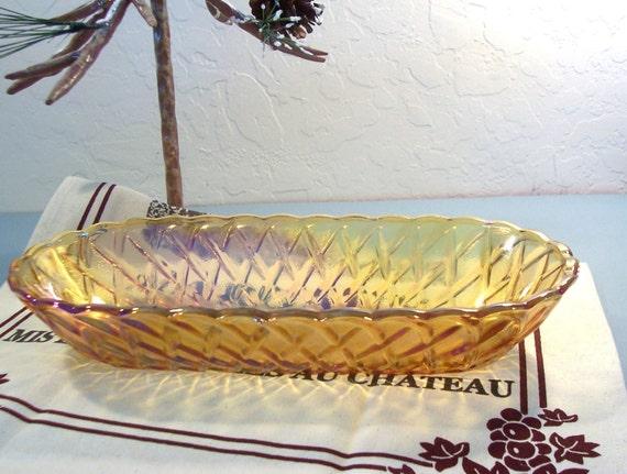 Vintage Indiana Carnival Glass Celery Dish