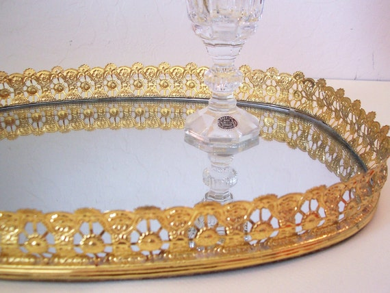 Vintage Gold Filigree Vanity Dresser Tray