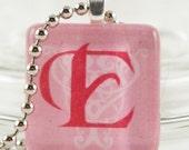 SALE - PINK -E- Glass Tile Pendant - FREE CHAIN