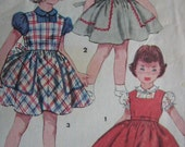 50s vintage Sewing Pattern - Child's Jumper and Blouse - Simplicity 4407 - Puffed Sleeves - Peter Pan Collar - Breast 24 IN