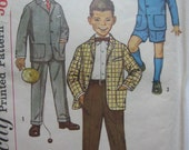 Vintage 1950s Sewing Pattern - BOY's JACKET and SUIT PANTS - Simplicity 3181 - Boy's Suit - Shorts - Chest 26 inches
