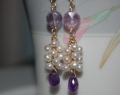 Amethyst and Pearl Gemstone Earrings