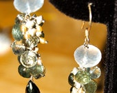 Ice Quartz, Moss Aquamarine, Green Amethyst, Gold Spinel, Pearls and Sterling Silver Earrings
