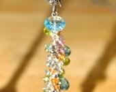 Swiss Blue Topaz, Peridot, Sapphire and Garnet Gemstone Earrings