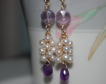 Amethyst and Pearl Gemstone Earrings