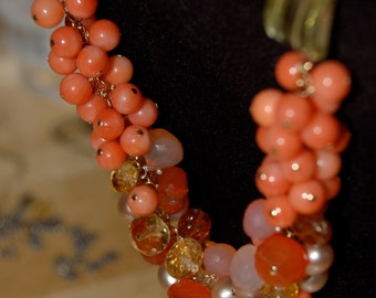 Coral, Lemon Quartz, Pearl and Gemstone Necklace