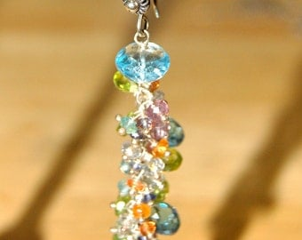 Swiss Blue Topaz, Peridot, Sapphire and Garnet Gemstone Earrings