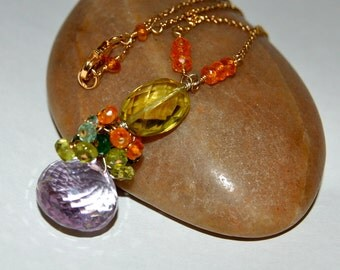 Lemon Quartz, Pink Amethyst, Chrome Diopside, Orange Garnet and Apatie Gemstone and 14k Gold Fill Necklace