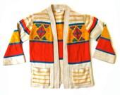 1970s Navajo Knit Sweater Southwestern Print Bright One Size