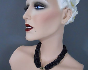 Vintage 70s Victorian Goth Mourning Cross Necklace Choker