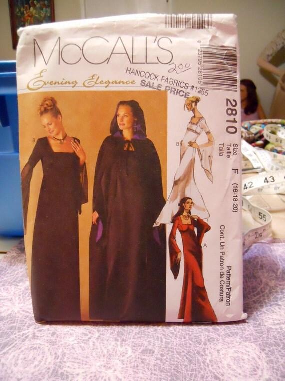 Vintage McCalls Renaissance Wedding Party dress cloak Sewing Pattern 16 18 20