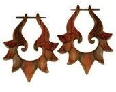 LOTUS LOVE- Large Brown Wooden Earrings.
