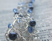 blue skies crocheted silver wire cuff