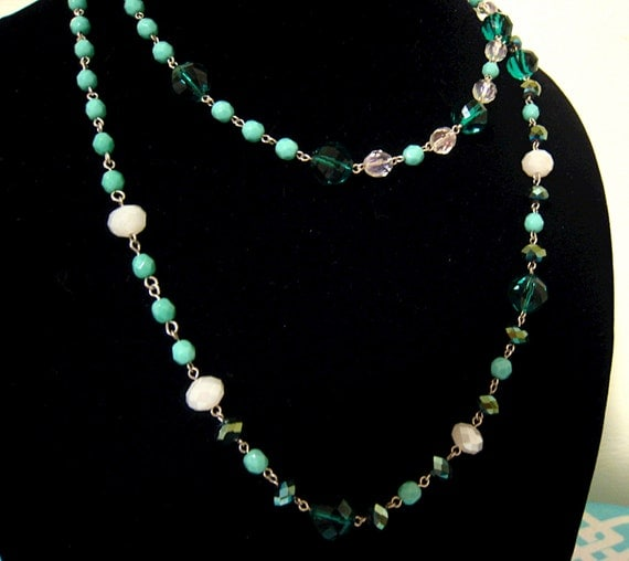mermaid inspired sea green aqua and white glass and crystal hand beaded necklace