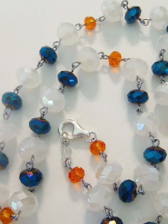 Custom listing for mlaurell1979. Florida Gator necklace glam orange blue and white hand beaded with silver clasp