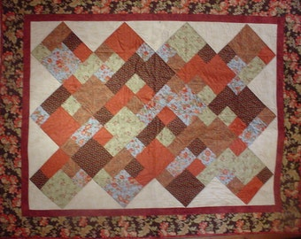 Twin Size Quilt  Brown and Rose 10.