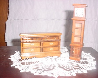Doll  House dresser and grandfather clock