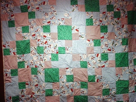 Reserved for Rachael    Snowmen and Flakes  Winter decor Quilt 61