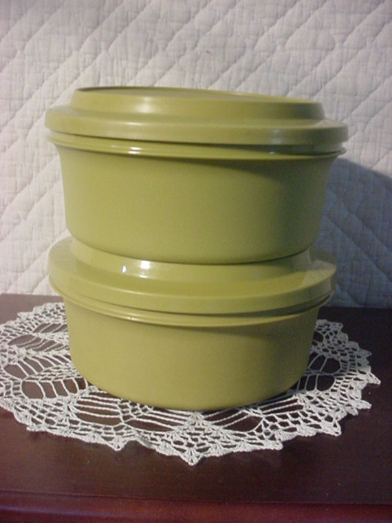 Tupperware Containers Avacado Green Set of 2