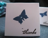 4 2x2 Note Cards.. Blue butterfly with rhinestone.. Thanks Stamped. 1.00 dollar listing