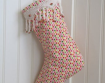 Whimsical Polka Dot Stocking with Knitted Fringe Cuff  - Ready to Ship