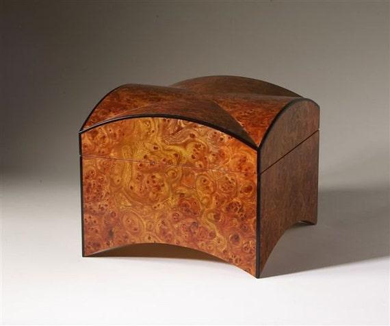 Agathos  (Good, pleasant)  Elm  Burl Jewelry Box