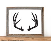 Antler Silhouette Screenprint 12.5 x19 Pick Your Color