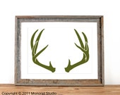 Antler Silhouette Screenprint 12.5 x 19 Pick Your Color