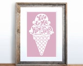 You & Me, How Sweet Small Screenprint Choose your color
