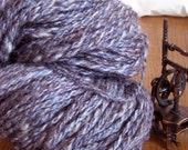 Indigo Treasure HANDSPUN Wool Yarn with bits of pink, blue, white, and gray - 115 yds, Worsted Weight