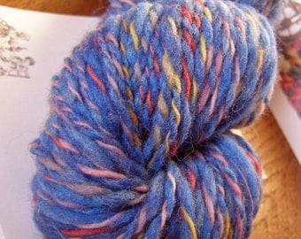 CHICORY RAINBOW - Handspun Wool Yarn, Commercial Cotton Ply - 85 yds, Worsted