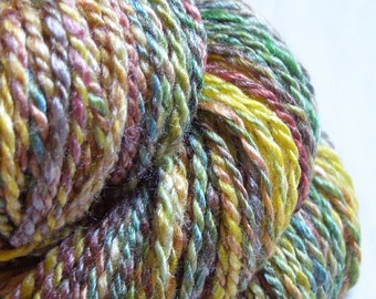 Marbled Candy HANDSPUN - Wool and Bamboo Yarn - 74 yds, Sport