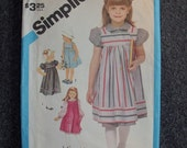 1984 Simplicity Girls (Size 5) Dress and Sundress or Jumper Pattern 6500