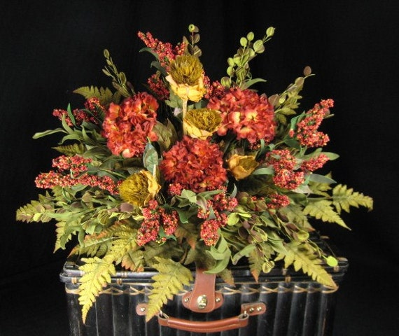 Mantel Arrangements: Cinnabar Hydrangea Silk Flower Mantel Topper By Tapestryoflife