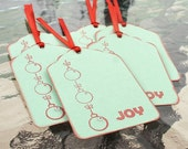 Mint Lime and Red Joy Holiday Gift Tags set of 6
