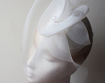 Bridal Ivory Silk Percher with Swarovski Crystal - beautiful chic bridal hat