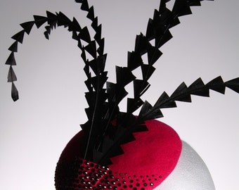 Pink Felt Fascinator with Swarowski Crystals - Great hat in my sample sale perfect for a wedding or the races