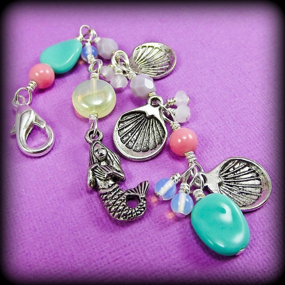 MERMAID TREASURES...Handmade Beaded Wire Wrapped Charm / Zipper Pull -With Czech Glass Beads, Crystals and Sea Themed Charms
