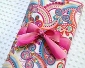 Stroller Blanket for Baby Girls - Butterfly Blooms with Pink Minky - Personalization Available