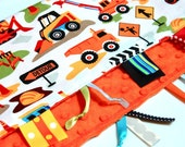 Baby Boy Blanket - Ribbon Lovey -  Dig It Trucks with Orange Minky